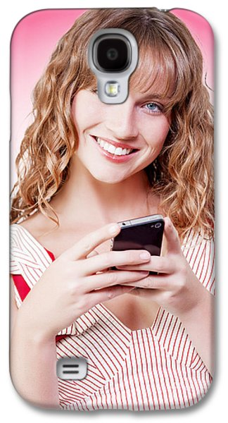 Beautiful Woman Texting On Her Cellphone Galaxy S4 Case by Jorgo Photography - Wall Art Gallery
