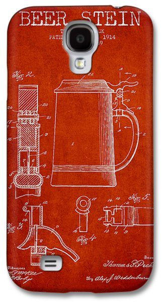 Beer Stein Patent From 1914 - Red Galaxy S4 Case by Aged Pixel