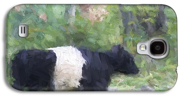 Belted Galloway Cow Painterly Effect Galaxy S4 Case by Carol Leigh