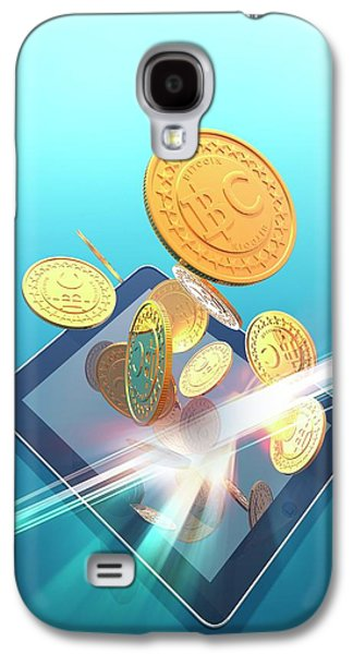 Bitcoins And Digital Tablet Galaxy S4 Case