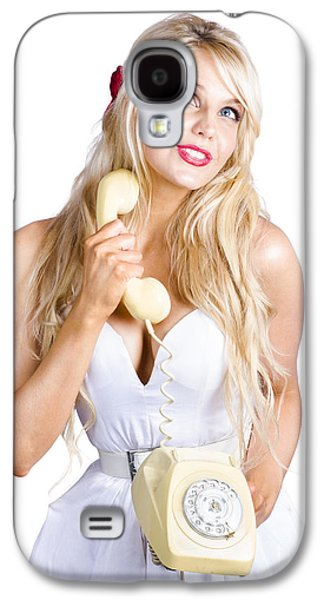 Blond Lady On Old-fashion Telephone Communication Galaxy S4 Case