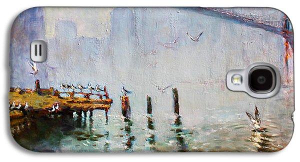 Seagull Galaxy S4 Case - Brooklyn Bridge In A Foggy Morning   by Ylli Haruni