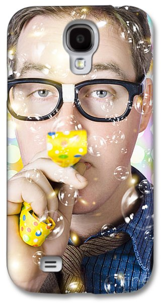 Businessman Blowing A Party Horn. Work Milestone Galaxy S4 Case by Jorgo Photography - Wall Art Gallery
