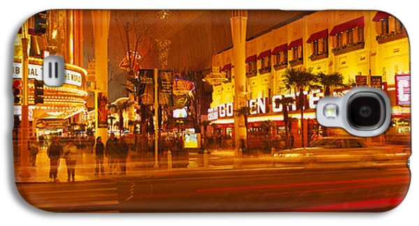 Casino Lit Up At Night, Fremont Street Galaxy S4 Case by Panoramic Images