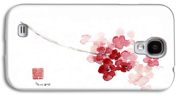 Cherry Blossom Sakura Pink Flower Flowers Delicate Branch Brown Watercolor Painting Galaxy S4 Case by Johana Szmerdt