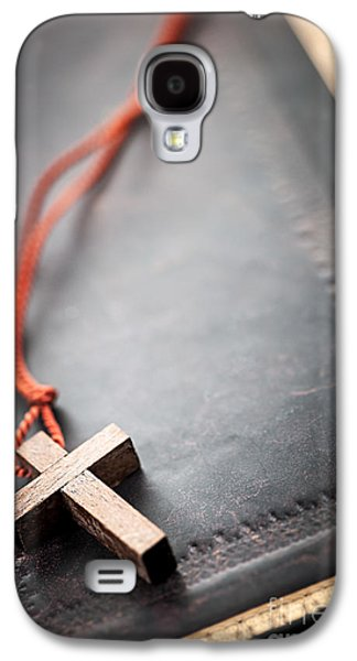 Christian Cross On Bible Galaxy S4 Case
