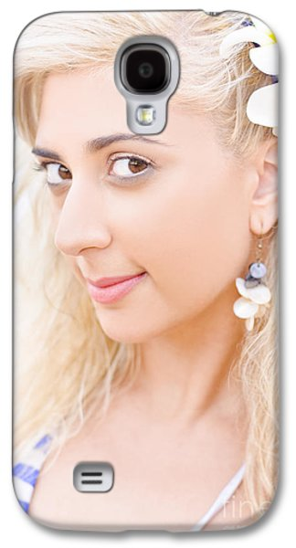 Clear Skin Woman With A Flower Near Face Galaxy S4 Case by Jorgo Photography - Wall Art Gallery
