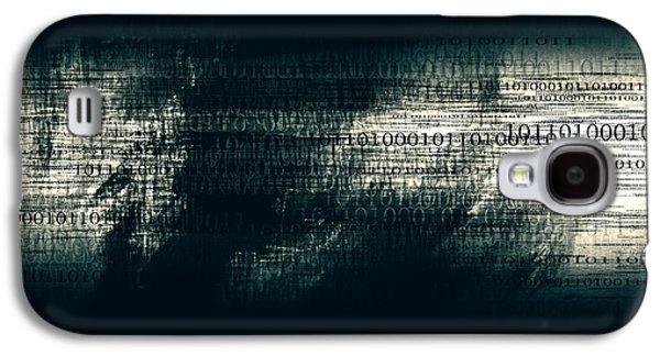 Binary Code - Dark Abstract Office Art Galaxy S4 Case by Modern Art Prints