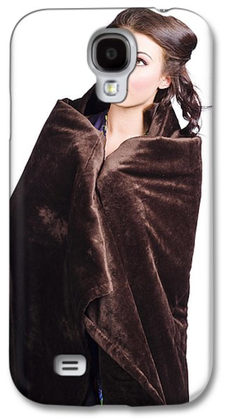 Cold Girl Feeling The Chill Of Winter In Blanket Galaxy S4 Case