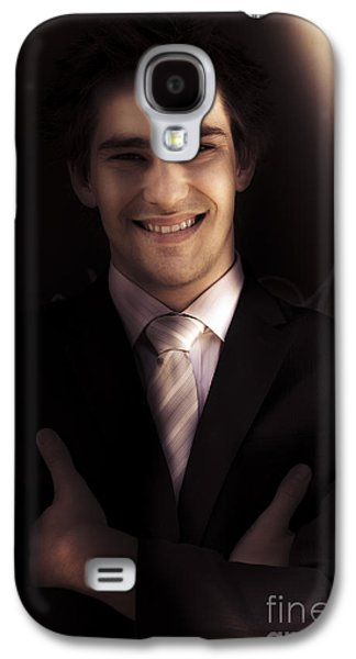 Confident Business Man Smiling In Darkness Galaxy S4 Case