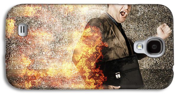 Crazy Businessman Running Engulfed In Fire. Late Galaxy S4 Case by Jorgo Photography - Wall Art Gallery