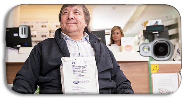 Disabled Man In Pharmacy Galaxy S4 Case by Jim Varney