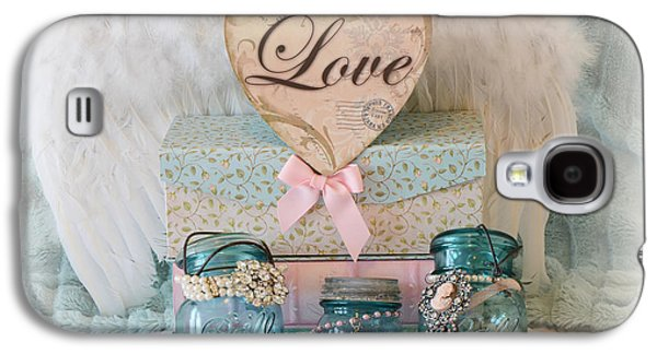 Dreamy Shabby Chic Mason Jars-vintage Aqua Teal Blue Ball Jars - Mason Ball Jars Love Heart Print  Galaxy S4 Case
