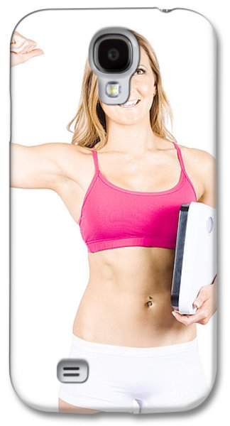Excited Weight Loss Woman Over White Background Galaxy S4 Case by Jorgo Photography - Wall Art Gallery