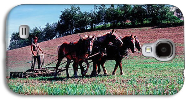 Farmer Plowing Field With Horses, Amish Galaxy S4 Case