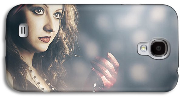 Female Fashion Model Holding Jewelry Necklace Galaxy S4 Case by Jorgo Photography - Wall Art Gallery