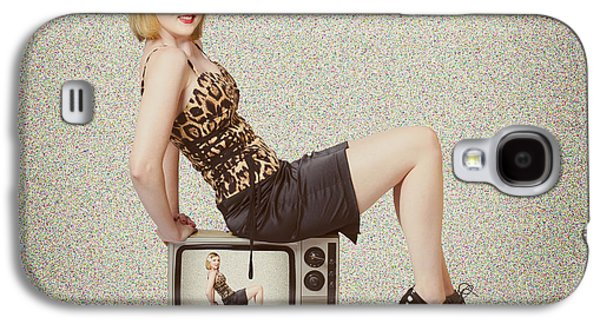 Female Television Show Actress On Old Tv Set Galaxy S4 Case by Jorgo Photography - Wall Art Gallery