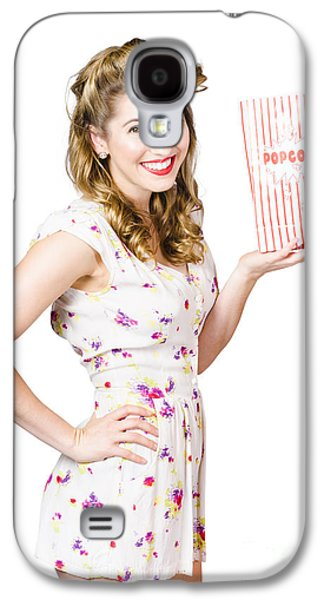 Film And Cinema Pin-up Lady On White Galaxy S4 Case