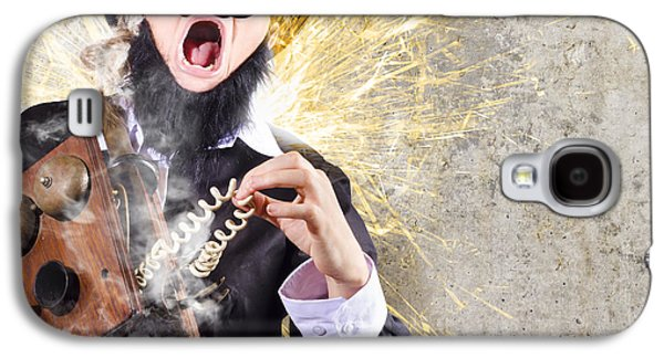Funny Man Getting Electric Shock From Old Phone Galaxy S4 Case by Jorgo Photography - Wall Art Gallery