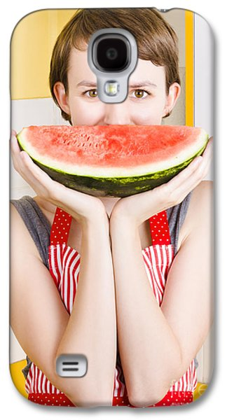 Funny Woman With Juicy Fruit Smile Galaxy S4 Case by Jorgo Photography - Wall Art Gallery