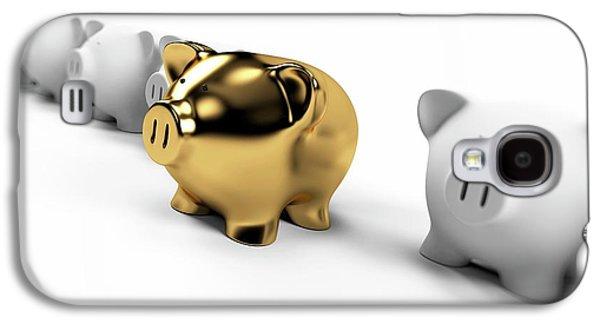 Gold And White Piggy Banks Galaxy S4 Case by Sebastian Kaulitzki