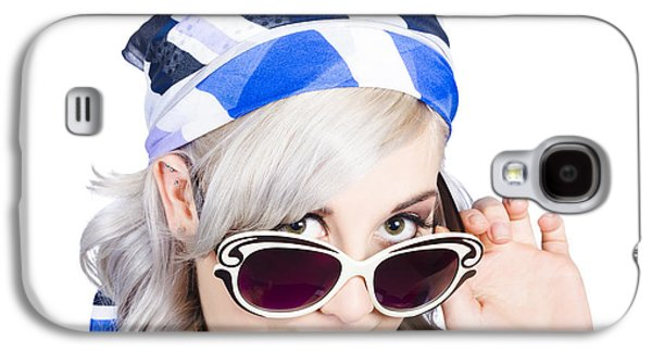 Graceful Pin Up Girl Looking Over Sunglasses Galaxy S4 Case