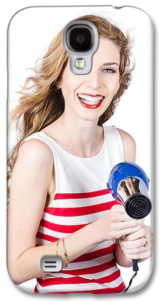 Happy Female Hairdresser Holding Hairdryer Galaxy S4 Case by Jorgo Photography - Wall Art Gallery