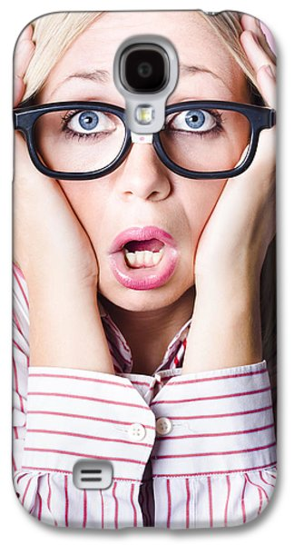 Hysterical Business Woman Having Panic Attack Galaxy S4 Case by Jorgo Photography - Wall Art Gallery