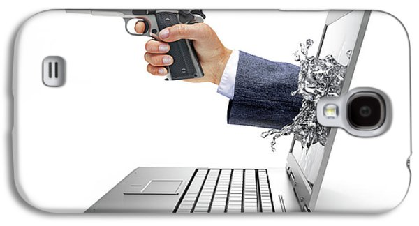 Laptop With Hand And Gun Galaxy S4 Case by Leonello Calvetti