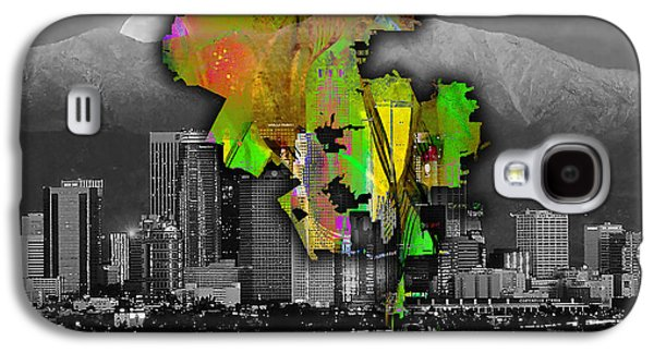 Los Angeles Map And Skyline Watercolor Galaxy S4 Case