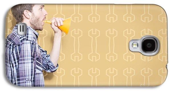 Male Handyman Or Motor Mechanic Talking Trade Tips Galaxy S4 Case by Jorgo Photography - Wall Art Gallery