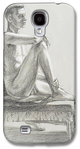 Male Model Seated Charcoal Study Galaxy S4 Case by Irina Sztukowski