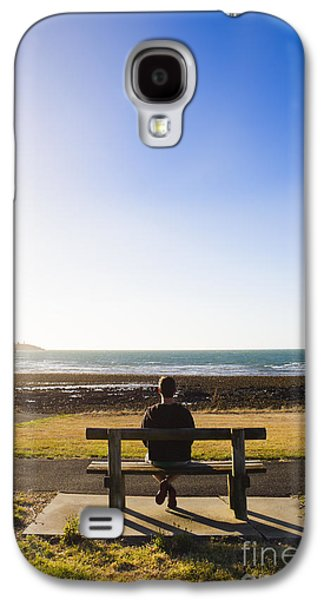 Male Tourist Enjoying Ocean Landscape Sunset Galaxy S4 Case by Jorgo Photography - Wall Art Gallery