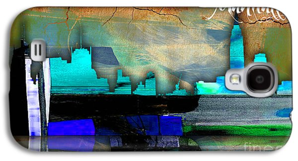 Manhattan Skyline Watercolor Galaxy S4 Case by Marvin Blaine