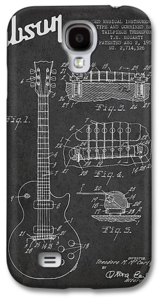 Mccarty Gibson Les Paul Guitar Patent Drawing From 1955 -  Dark Galaxy S4 Case by Aged Pixel