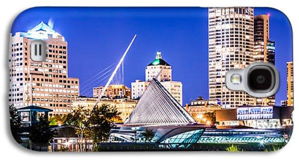 Milwaukee Skyline At Night Photo In Blue Galaxy S4 Case by Paul Velgos