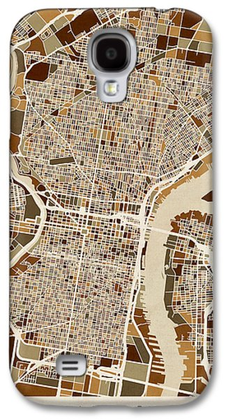 Philadelphia Pennsylvania Street Map Galaxy S4 Case by Michael Tompsett
