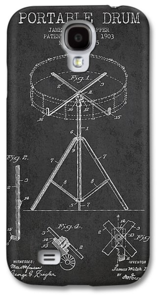 Drum Galaxy S4 Case - Portable Drum Patent Drawing From 1903 - Dark by Aged Pixel