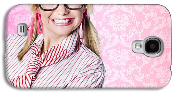 Portrait Of A Nerd Businesswoman With Funny Smile Galaxy S4 Case
