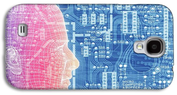 Printed Circuit Board And Wireframe Head Galaxy S4 Case