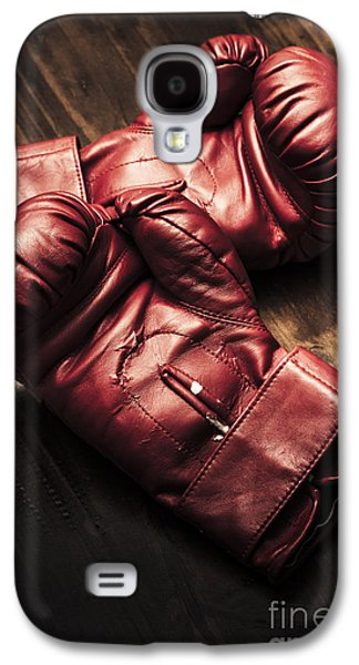 Retro Red Boxing Gloves On Wooden Training Bench Galaxy S4 Case by Jorgo Photography - Wall Art Gallery