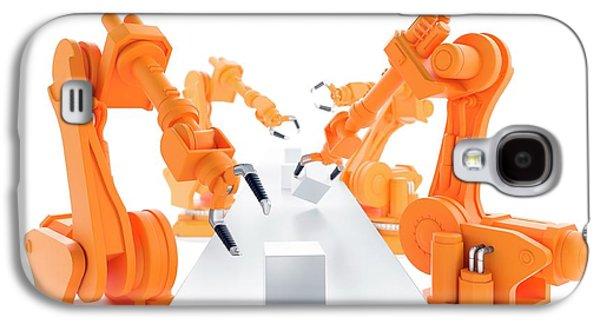Robots On Production Line Galaxy S4 Case by Andrzej Wojcicki