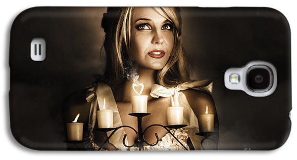 Romantic Blonde Woman Holding The Light Of Love Galaxy S4 Case by Jorgo Photography - Wall Art Gallery