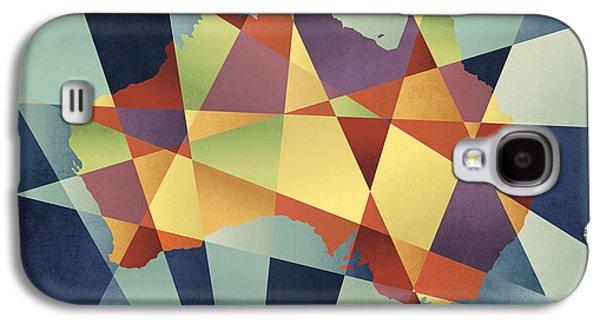 Australia Geometric Retro Map Galaxy S4 Case by Michael Tompsett