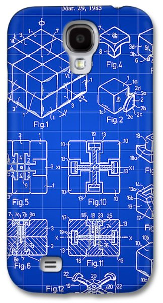 Rubik's Cube Patent 1983 - Blue Galaxy S4 Case by Stephen Younts