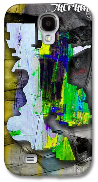 Sacramento Map And Skyline Watercolor Galaxy S4 Case by Marvin Blaine