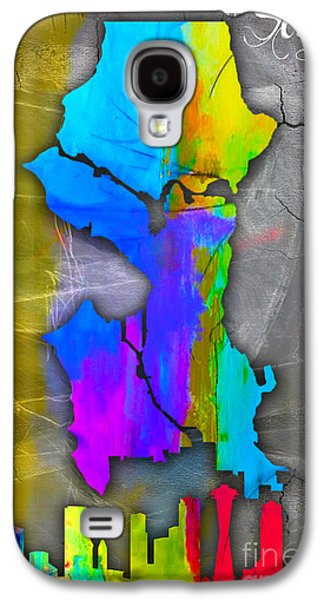 Seattle Map And Skyline Watercolor Galaxy S4 Case