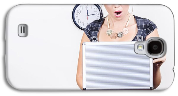 Shocked Accounting Employee Holding Open Briefcase Galaxy S4 Case by Jorgo Photography - Wall Art Gallery