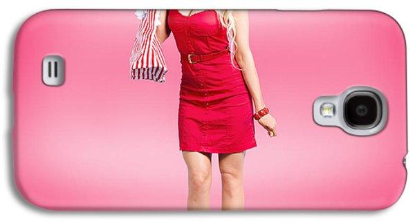 Shop Till You Drop. Female Retail Shopper In Red Galaxy S4 Case
