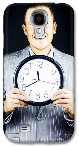 Smiling Man In Suit Holding A Clock Galaxy S4 Case by Jorgo Photography - Wall Art Gallery